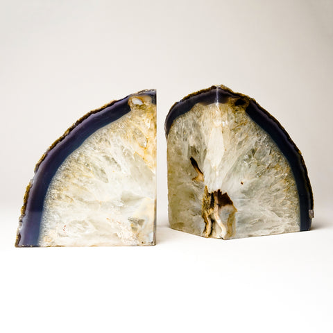 Blue and White Banded Agate Bookends from Brazil (13.5 lbs)