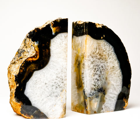 Brown and White Banded Agate Bookends from Brazil (11.5 lbs)