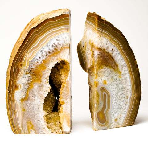 Natural Banded Agate Bookends from Brazil (7.5 lbs)