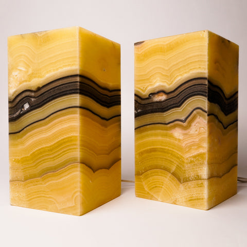 "Square Onyx Lamp Set from Mexico (12"", 11 lbs)"