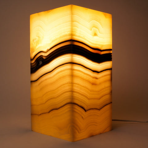 "Square Onyx Lamp from Mexico (12"", 11 lbs)"