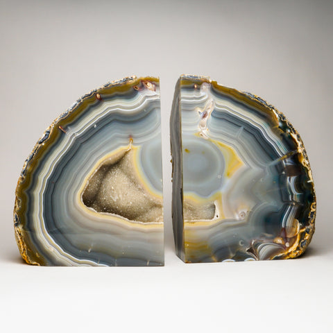 Large Light Blue Banded Agate Geode Bookends from Brazil (100 lbs)