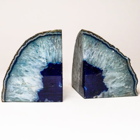 Light and Dark Blue Banded Agate Bookends from Brazil (6.5 lbs)