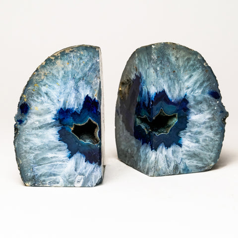 Light Blue Banded Agate Geode Bookends from Brazil (4 lbs)