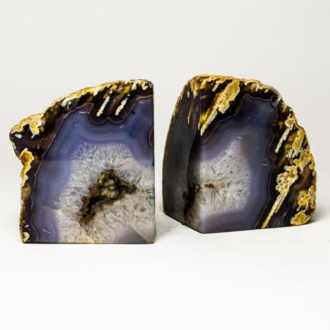 Natural with Purple Banded Agate Bookends from Brazil (3.5 lbs)