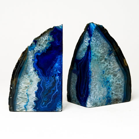 Blue and Teal Banded Agate Bookends from Brazil (4 lbs)