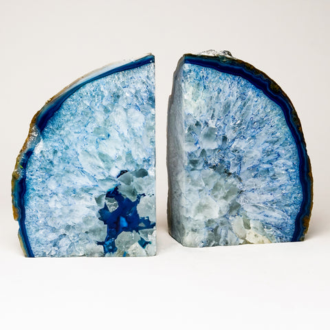 Light Blue Banded Agate Bookends from Brazil (11.5 lbs)