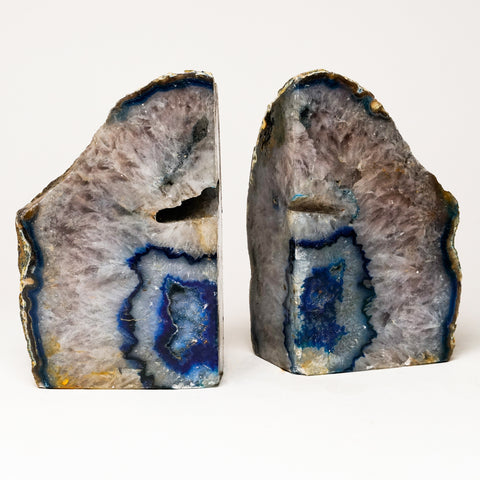 Purple with Blue Banded Agate Geode Bookends from Brazil (6.5 lbs)