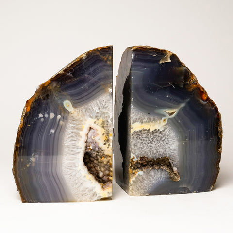 Grey Banded Agate Geode Bookends from Brazil (18 lbs)