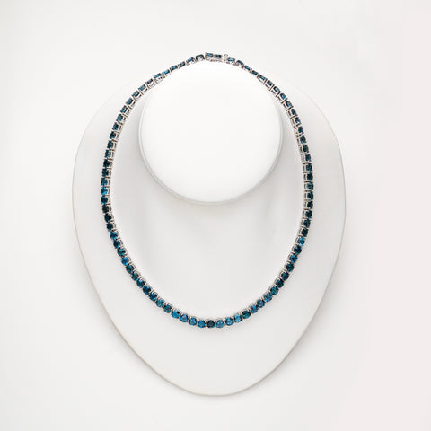 Blue Topaz Gemstone Sterling Silver Tennis Necklace