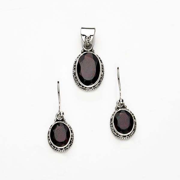 Garnet in Sterling Silver Earrings and Pendant Set.