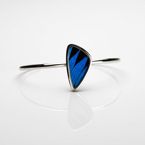 Real Butterfly Wing Bangle in Sterling Silver