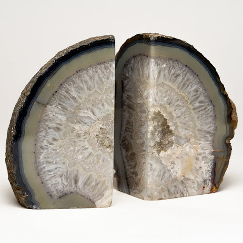 Grey Banded Agate Bookends from Brazil (5 lbs)