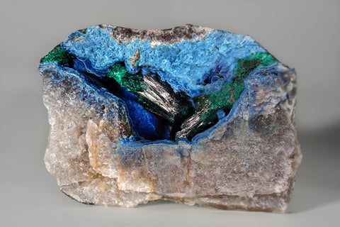 Shattuckite and Malachite on Quartz from Kandesei, Kaokoveld, Namibia