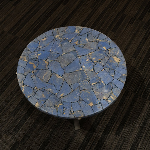 Large Polished Dumortierite Round Table Top