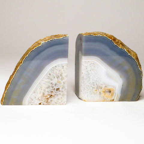Blue and White Banded Agate Bookends from Brazil (6 lbs)