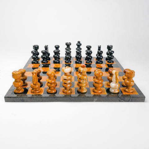 Large Black and Natural Onyx Chess Set
