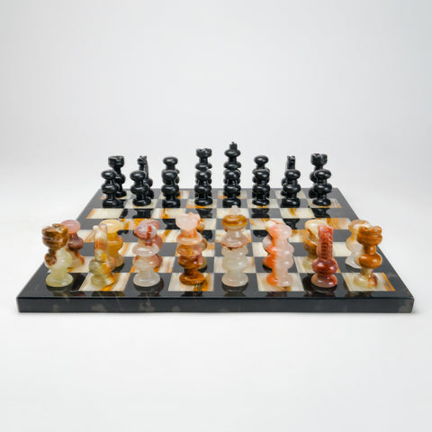 Large Black and Multi Color Natural Onyx Chess Set