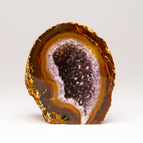 Brown with Amethyst Banded Agate Geode From Brazil (1 lb)