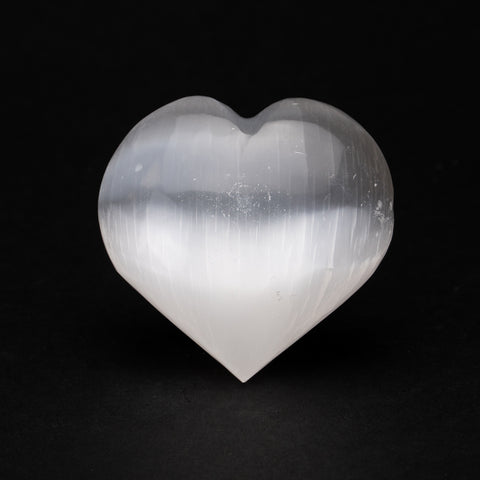 Clear Selenite Crystal Heart from Morocco (230.7 grams)