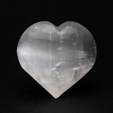 Clear Selenite Crystal Heart from Morocco (233 grams)