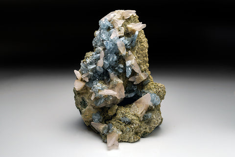 Blue Barite with Calcite on Matrix from Rio Grande do Sul, Brazil