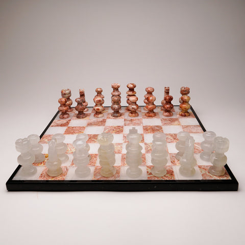 Large Black with Pink and White Onyx Chess Set