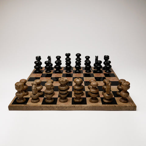 Large Natural with Black and Brown Onyx Chess Set