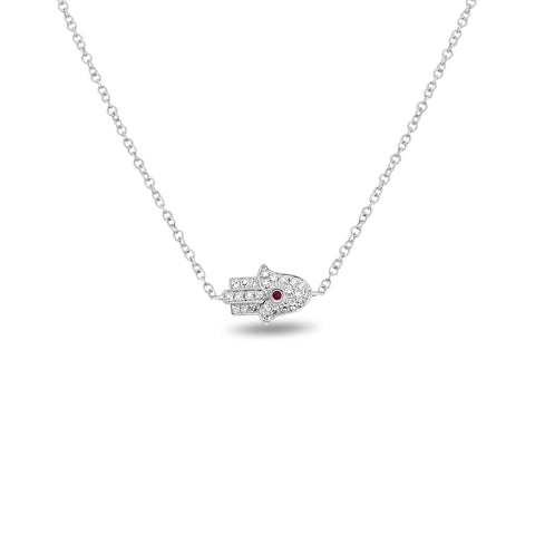 14k White Gold Ruby Necklace (EN1025-1)