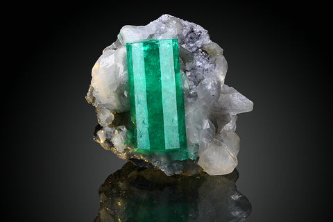 Emerald on Calcite From Cosquez Mine, Boyaca Dept. Colombia - Astro Gallery