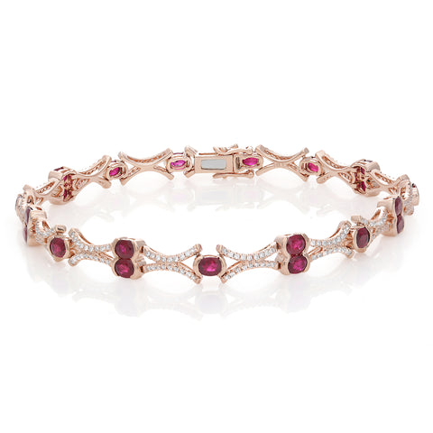 14k Rose Gold Ruby Bracelet (GB2506-2)