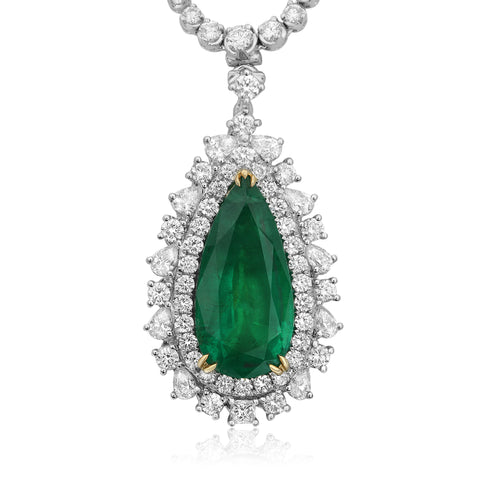 18k White Gold Emerald Necklace (GN2595-1)