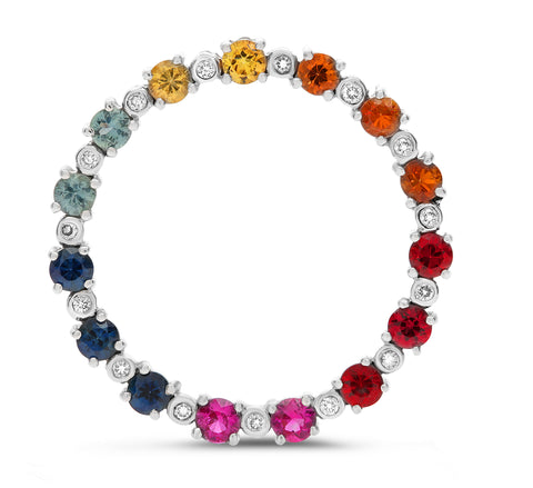 14k White Gold Multi Color Sapphire Pendant (GP2620-2)