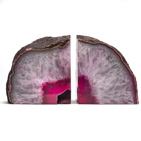 Pink and White Agate Bookends (5.5 lbs) from Brazil