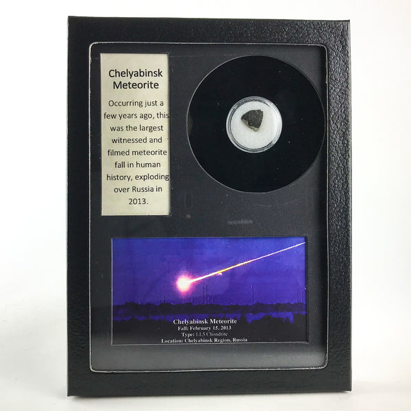 Genuine Chelyabinsk Meteorite In Glass Display Box - Astro Gallery