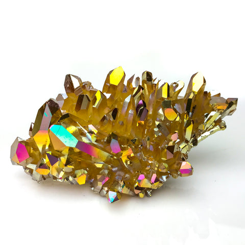 Sunset Aura Quartz Crystal Clusters (231.7 g)