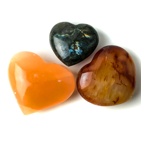 3 pc Collection of Polished Heart Crystals