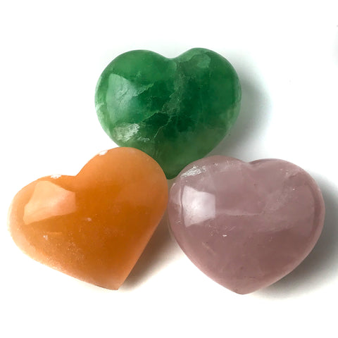 3 pc Collection of Polished Heart Crystals - Astro Gallery