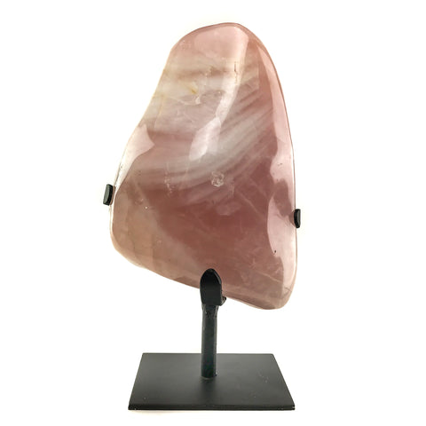 Large Polished Rose Quartz On Stand From Brazil (11