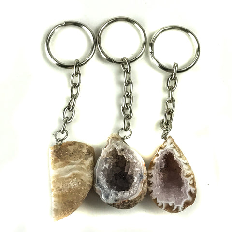3 Piece Lot Of Quartz Geode Keychain