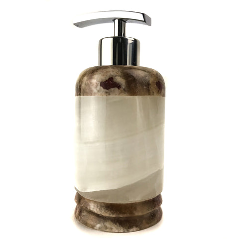 Handmade Natural Mexican Onyx Soap Dispenser - Round - Astro Gallery