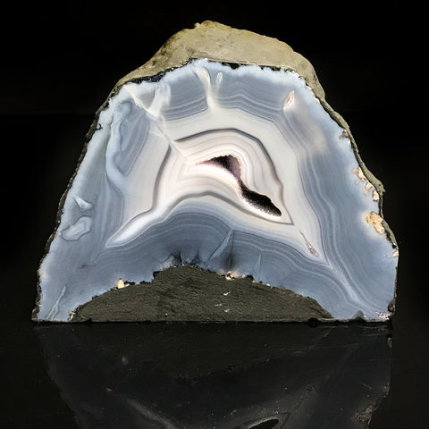 Blue Lace Agate Amethyst Geode from Uruguay
