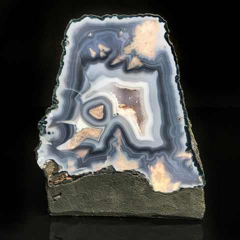 Blue Lace Agate Amethyst Geode fro Uruguay