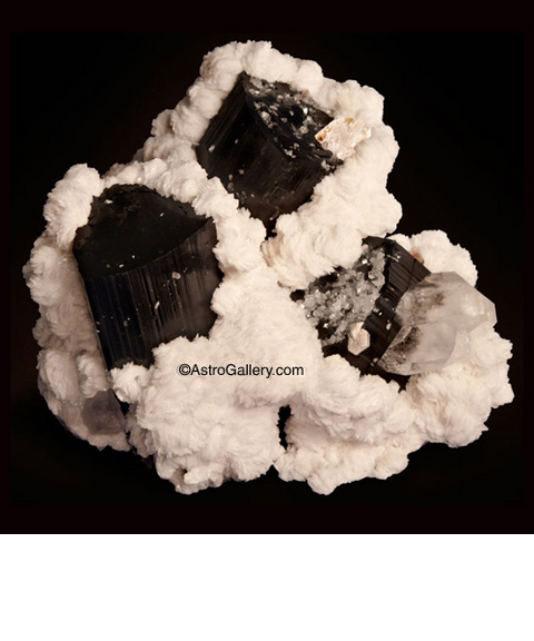 SCHORL ON ALBITE WITH QUARTZ - Astro Gallery