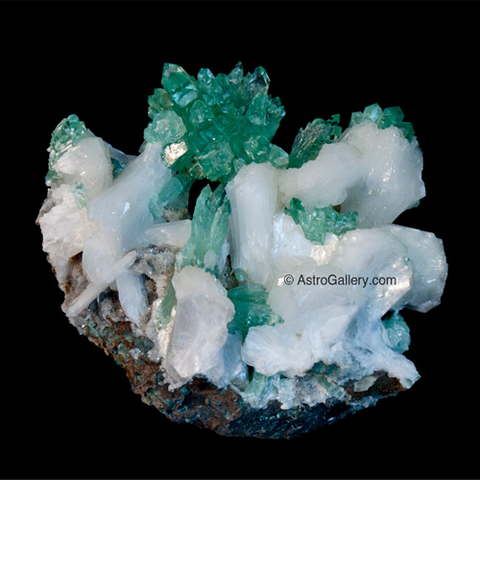 Green Apopphyllite with Pink Stilbite - Astro Gallery