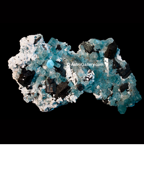 Aquamarine and Schorl on Albite - Astro Gallery