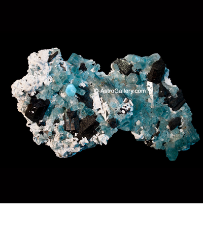 Aquamarine and Schorl on Albite