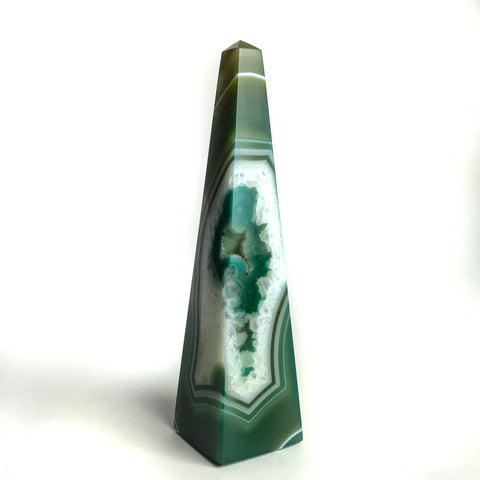 Green Banded Agate Obelisk - Astro Gallery