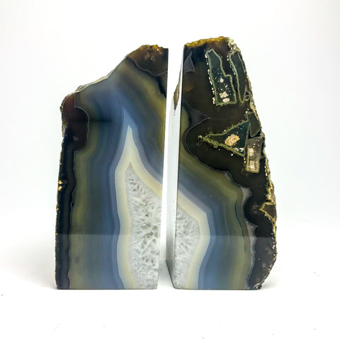 Blue, Green and White Banded Agate Bookends (4.5 lbs) from Brazil