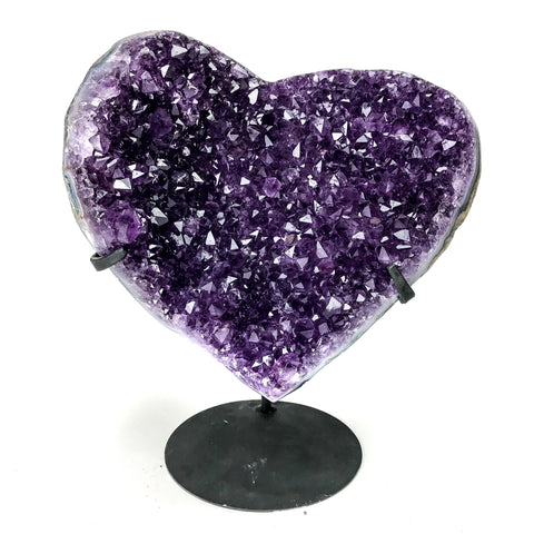 Amethyst Cluster Heart on Stand from Uruguay - Astro Gallery